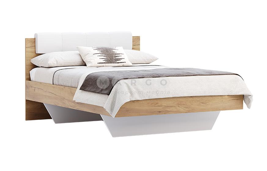 Кровать двуспальная MM-AST-126 Глянец Белый-Дуб Крафт: фото - Margo.ua