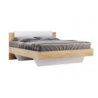 Кровать двуспальная MM-AST-128 Глянец Белый / Дуб Крафт