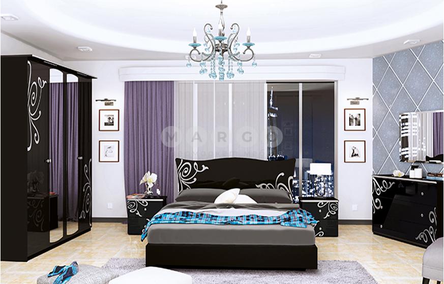 Кровать двуспальная MM-BGM-535 Глянец Черный: фото - Margo.ua