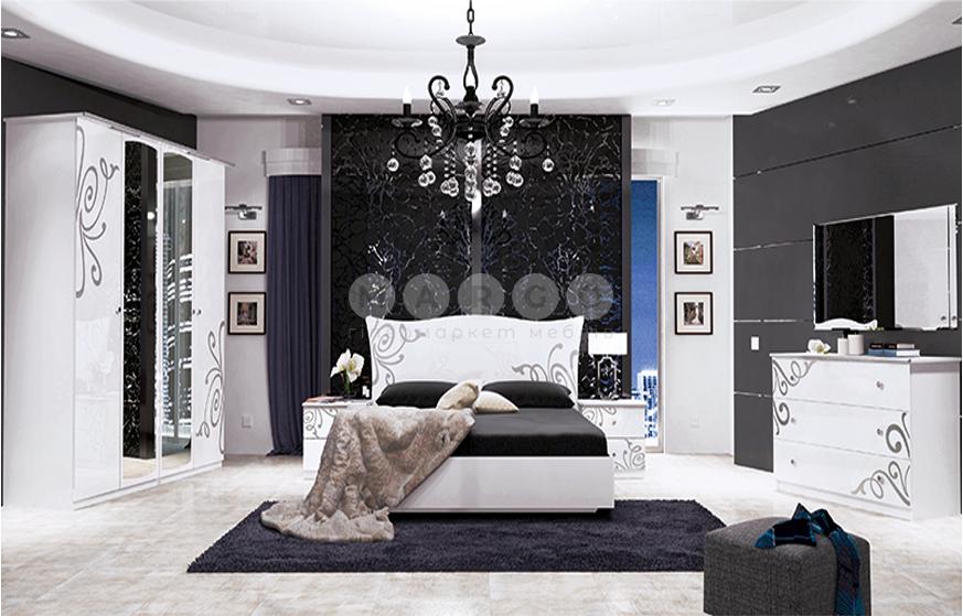 Кровать двуспальная MM-BGM-157 Глянец Белый: фото - Margo.ua