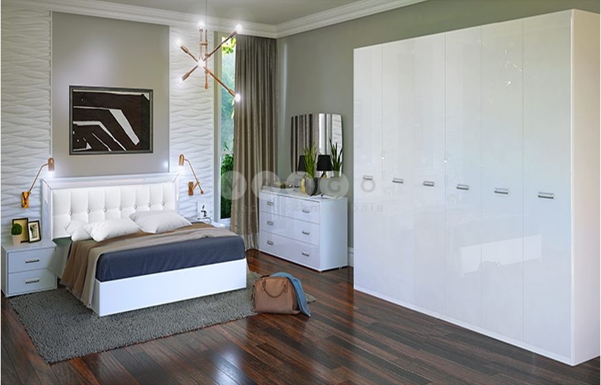 Кровать двуспальная MM-BL-839 Глянец Белый: фото - Margo.ua