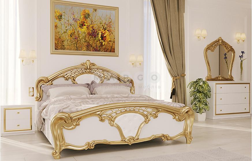 Кровать двуспальная MM-EV-208 Глянец Белый-Золото: фото - Margo.ua