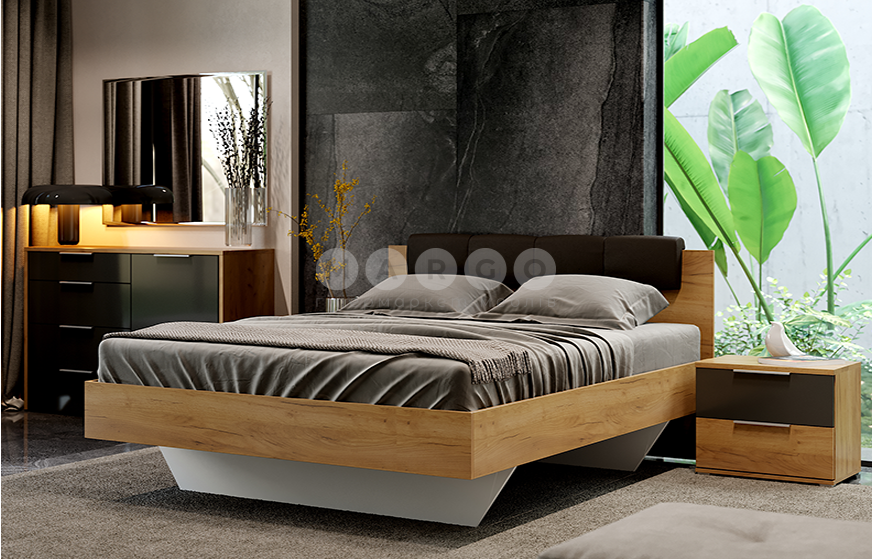 Кровать двуспальная MM-LNA-274 Лава-Дуб Крафт: фото - Margo.ua