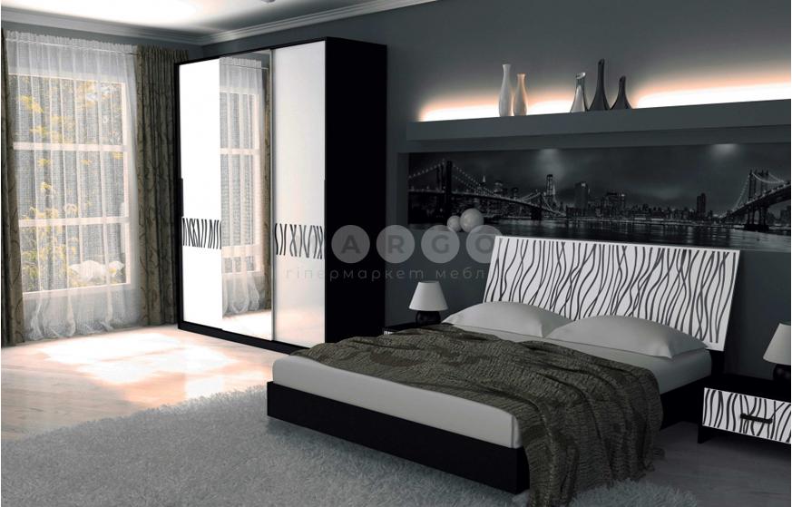 Кровать двуспальная MM-TRR-424 Глянец Белый-Черный Мат: фото - Margo.ua