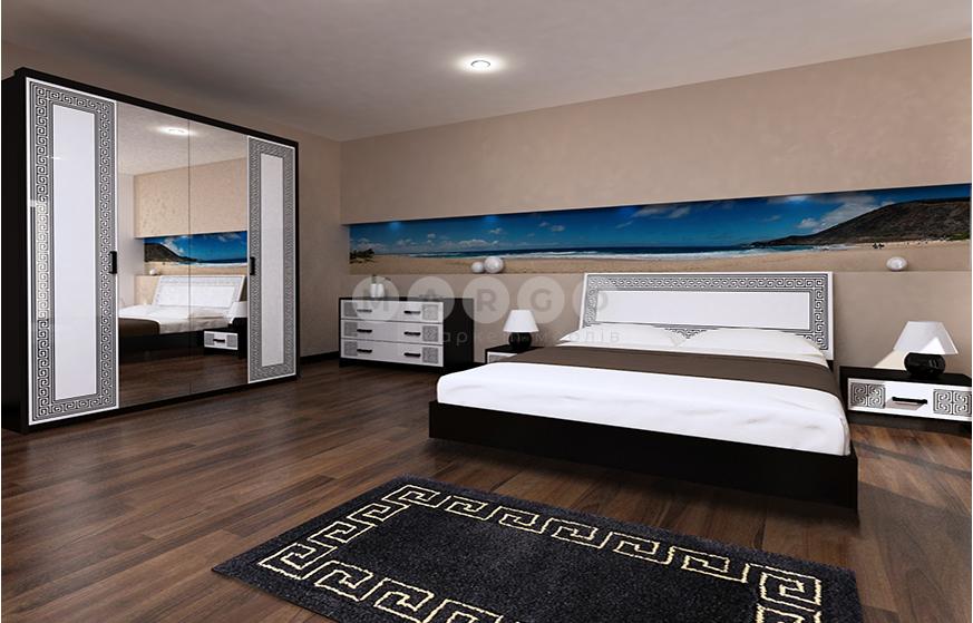 Кровать двуспальная MM-VLA-186 Глянец Белый / Черный Мат: фото - Margo.ua