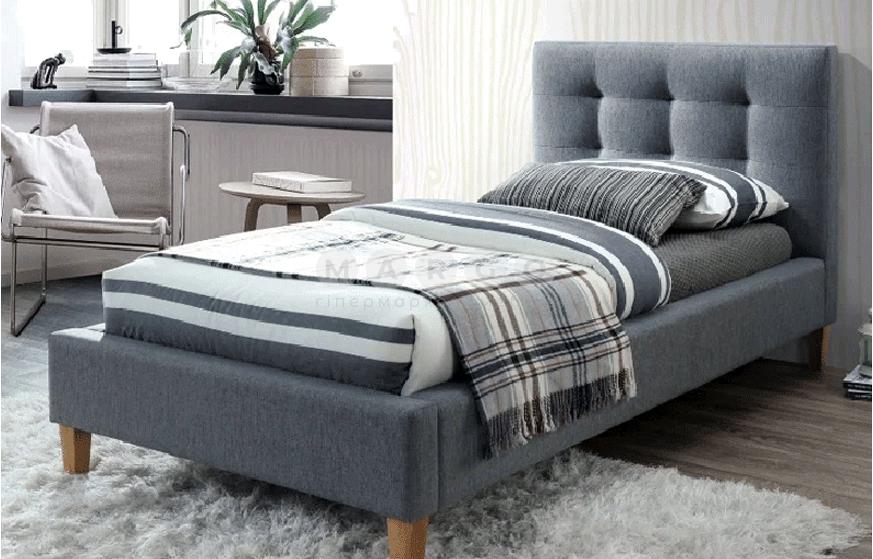 Кровать односпальная SGL-TXS-542 Серая: фото - Margo.ua
