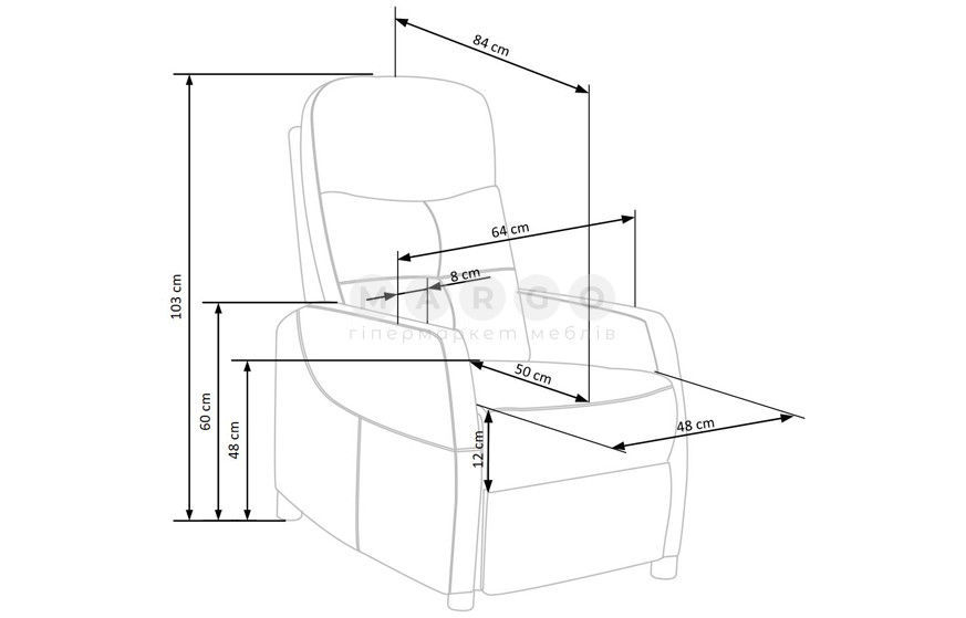 Кресло FELIPE 2 серый 103-76: фото - Margo.ua