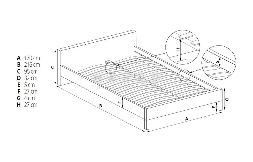 Кровать MERIDA 160 серый 95: фото - Margo.ua