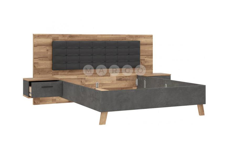 Кровать с подсветкой RICCIANO дуб/бетон темно-серый 120: фото - Margo.ua
