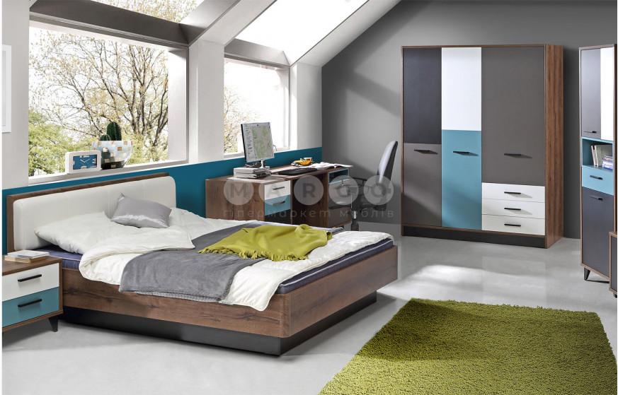 Кровать 1,4 RAVEN дуб благородный/серый/белый/черный/зеленый 88: фото - Margo.ua