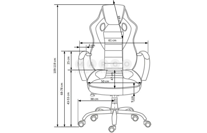 Кресло SCROLL черный/серый/красный 109-119: фото - Margo.ua