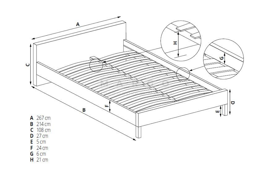 Кровать LEVANTER 160 серый 108: фото - Margo.ua