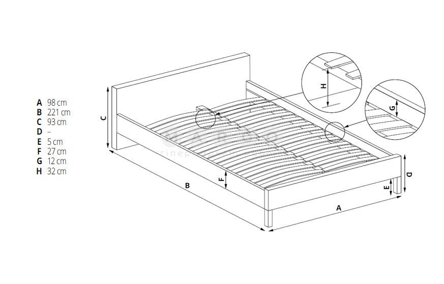 Кровать ALOHA серый 93: фото - Margo.ua