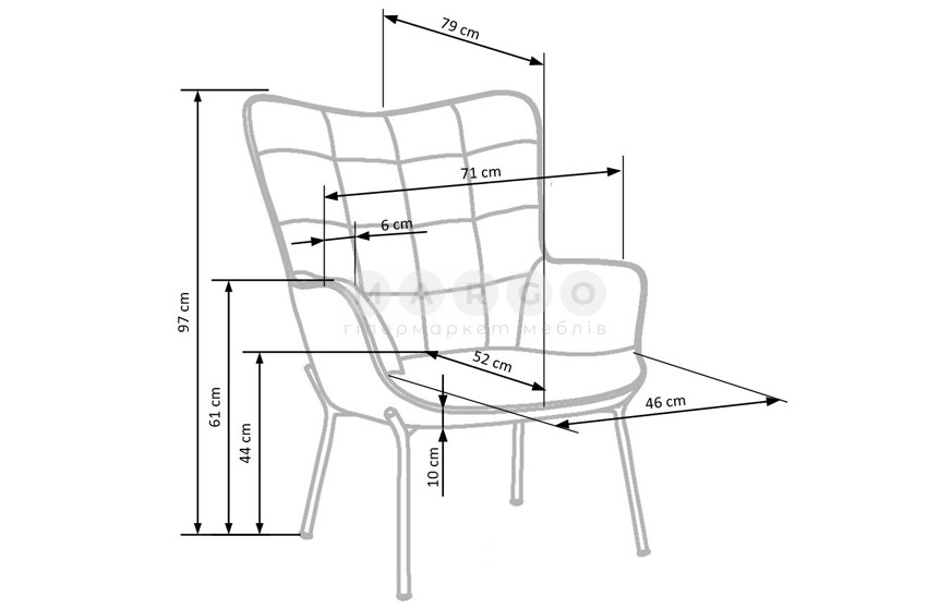 Кресло CASTEL горчичный 97: фото - Margo.ua