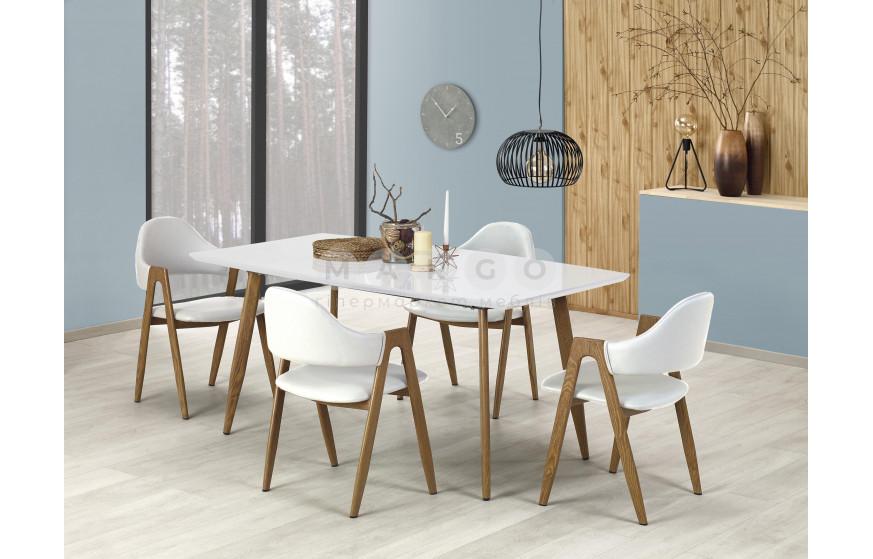 Стол раскладной RUTEN белый/дуб медовый белый/дуб медовый 90: фото - Margo.ua