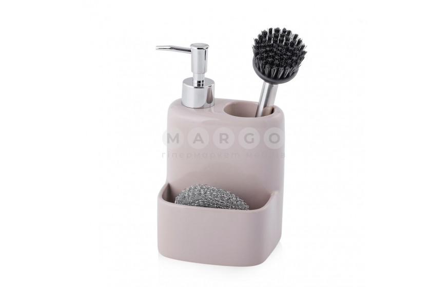 Настольный дозатор для мыла в комплекте с сеточкой и щеткой для мытья посуды Rotund: фото - Margo.ua