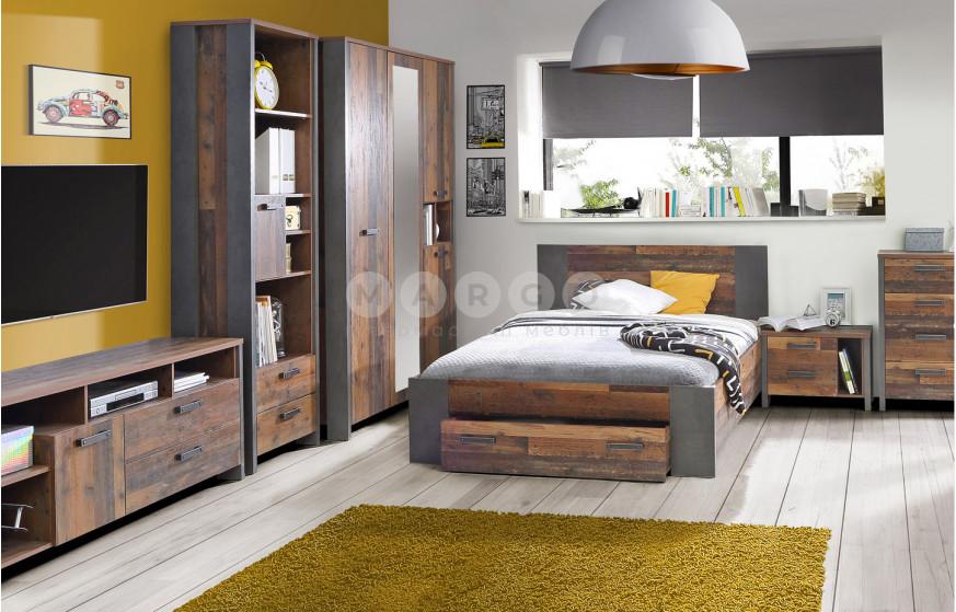 Кровать 1,2 CLIF старое дерево винтаж/бетон темно-серый 90,5: фото - Margo.ua